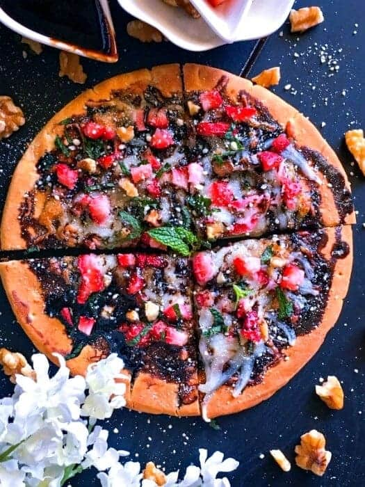 Walnut and Strawberry Pizza with Balsamic Reduction