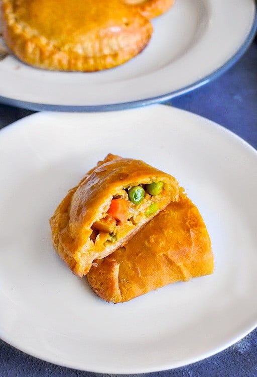 best lamb curry hand pies in a white plate