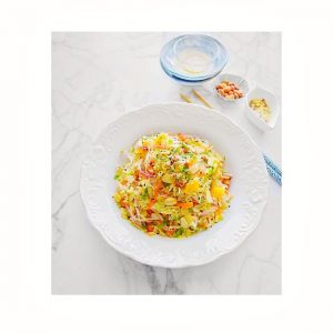 quick chinese cabbage salad on a white platter