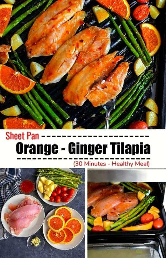 Sheet Pan Orange-Ginger Tilapia: #sheetpan #healthy #fish #tilapia #orange