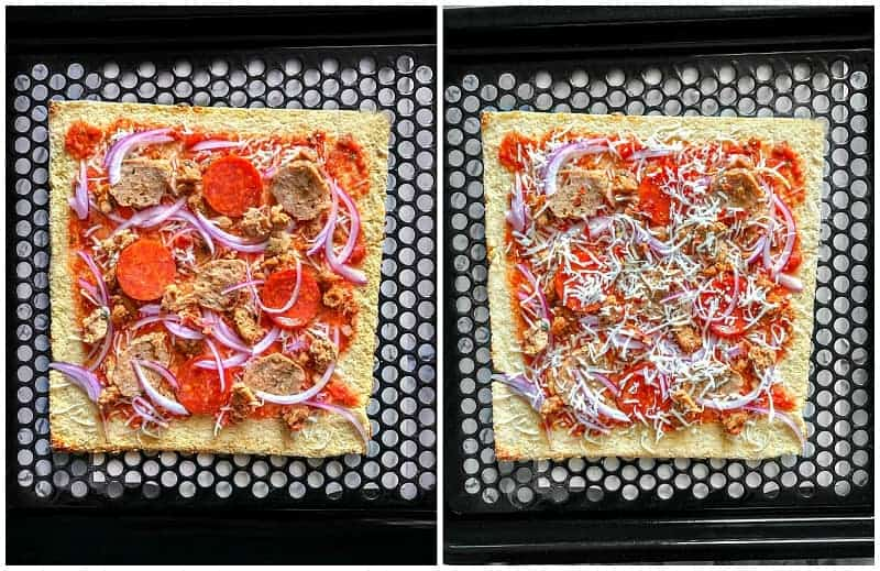 cauliflower crust pizza process-1