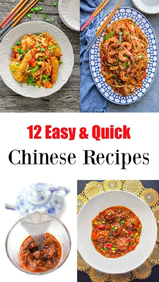 12 Easy Chinese Recipes: from potstick, dumplings, chowmein, chinese fish, manchurian. #chineserecipes #chinesefood #chinesenewyear #chowmein #chinesefish #dumpling #chinese