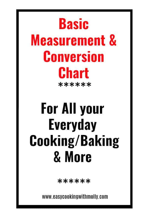 Conversion Chart for Baking Cooking: #conversionchart #measurement #cooking #baking #recipes