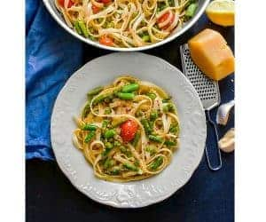 Lemon Asparagus Pasta with Peas in a pan using glutenfree pasta