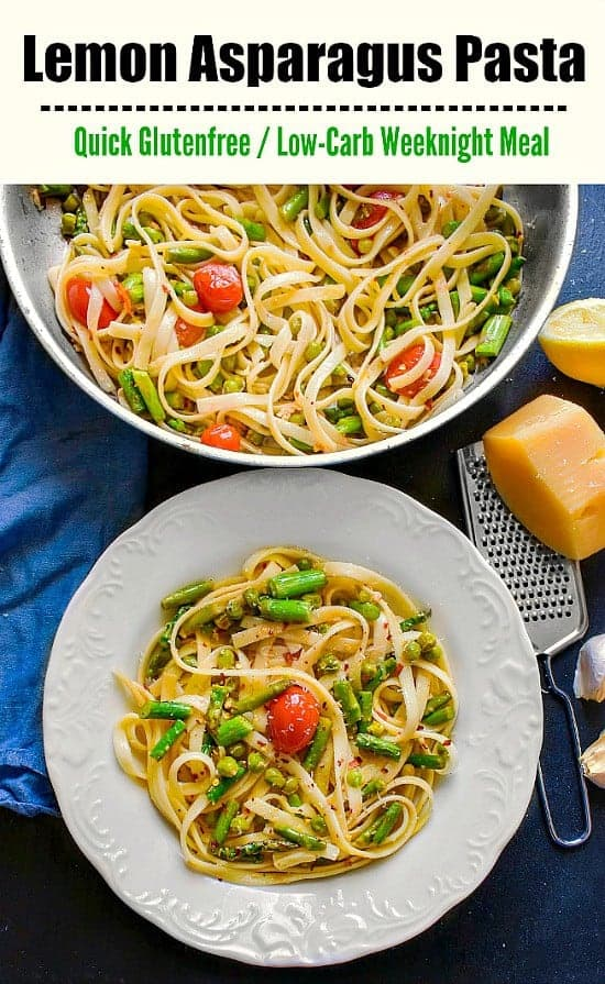 Lemon Asparagus Pasta with Peas: #pasta #fettuccine #glutenfree #chickpeas #italianfood #weeknightmeal #mealprep #lemonpasta