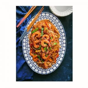 shrimp lo mein recipe using shrimps, noodles and vegetables