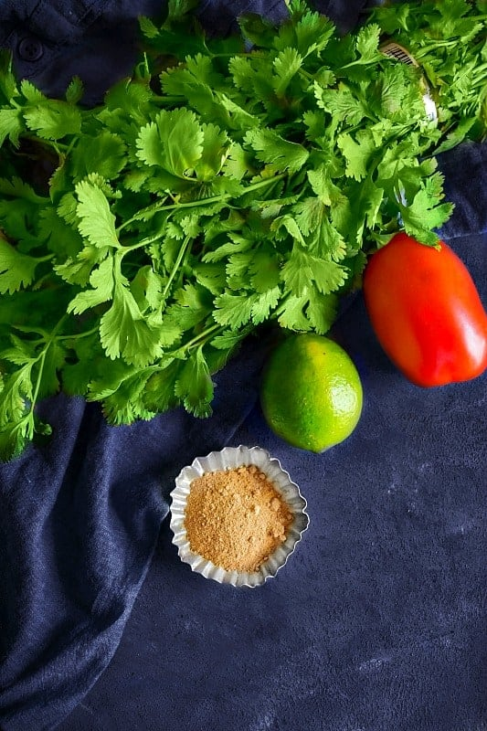 cilantro green chutney ingredients picture