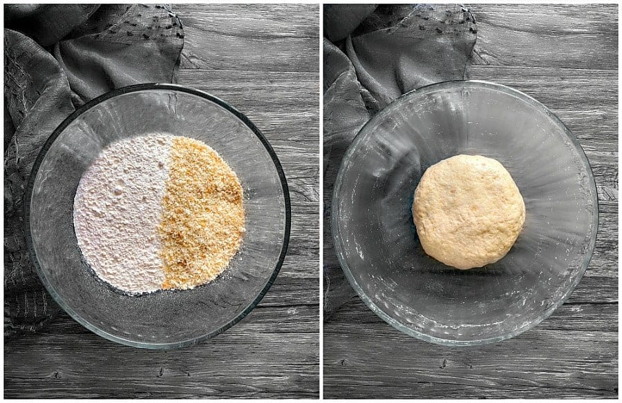 instant bread bhatura ingredients in a glass bowl