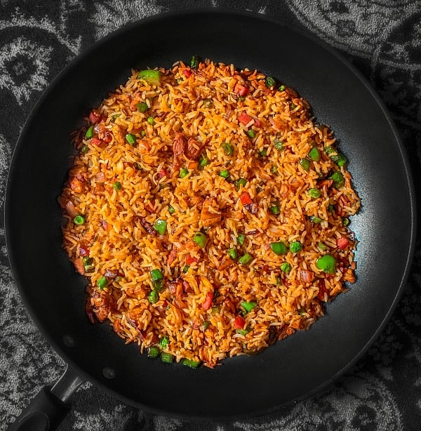 easy chicken fried rice in a wok pan