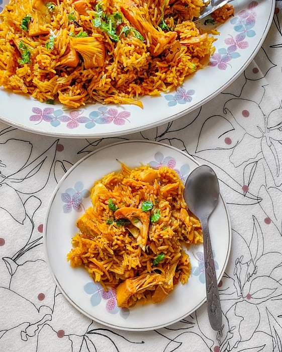 easy kathal biryani recipe using raw jackfruit or canned