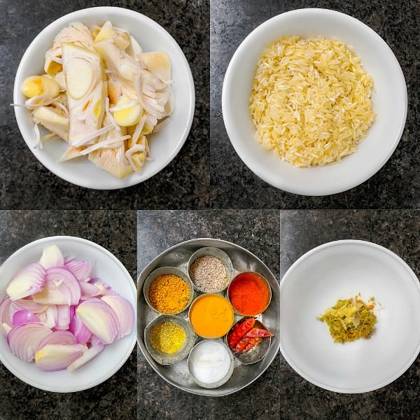 kathal biryani ingredients including raw jackfruit, rice, onion, spices and yogurt