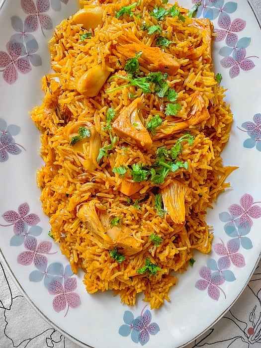 kathal biryani recipe or jackfruit biryani recipe