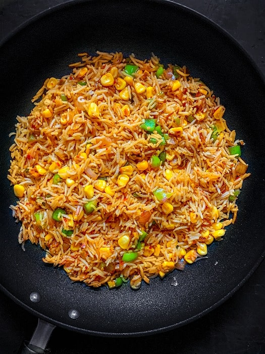 final step of how to make corn fried rice