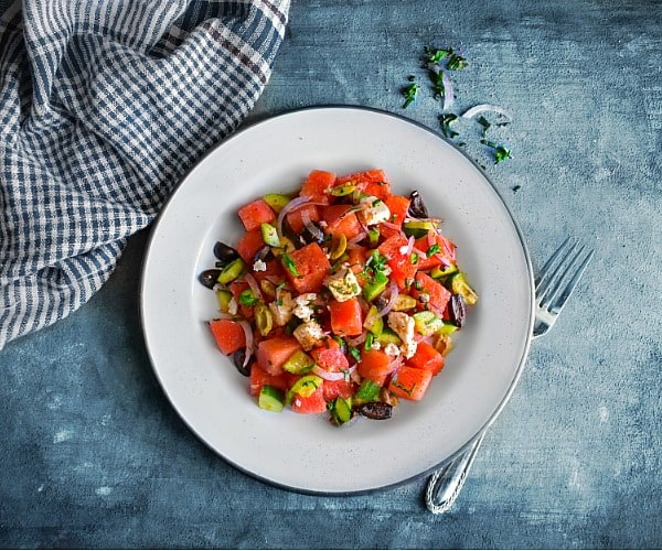 10 Minutes Greek Watermelon Salad (with Chili Lime Seasoning)
