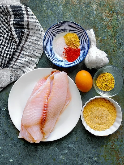 Air Fryer Fish Recipe ingredients using Tilapia fish fillet