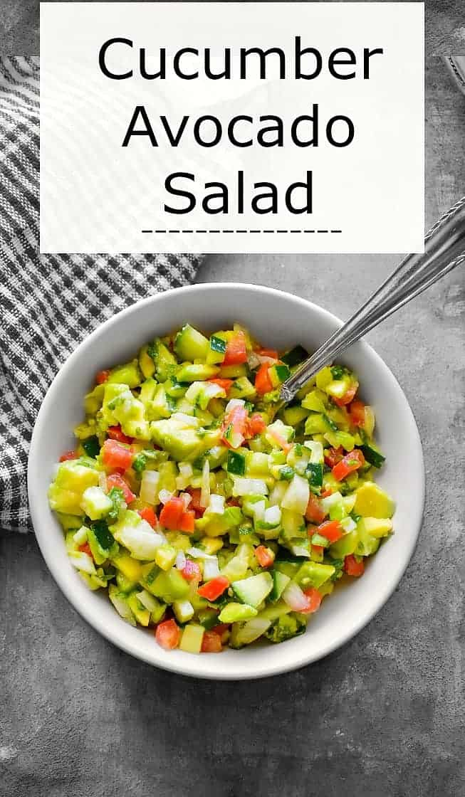 Cucumber Avocado Salad with Tomato, Vinegar and Olive Oil