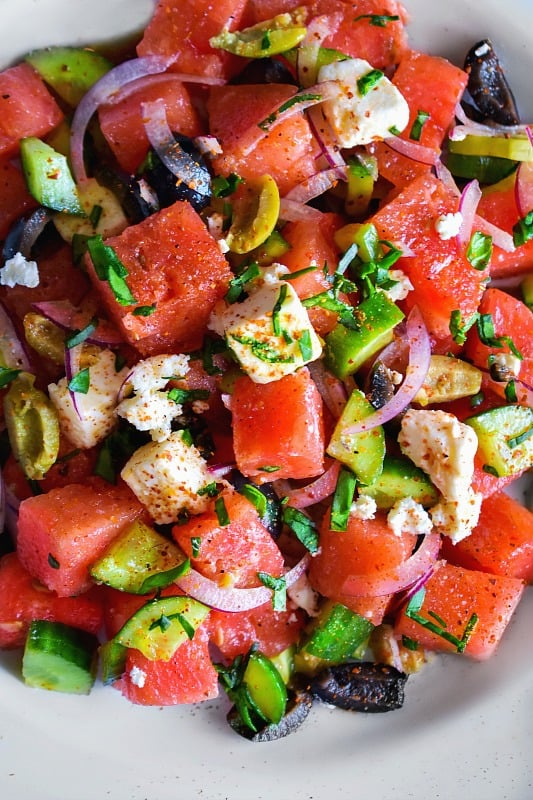 Greek Watermelon Cucumber Feta Salad