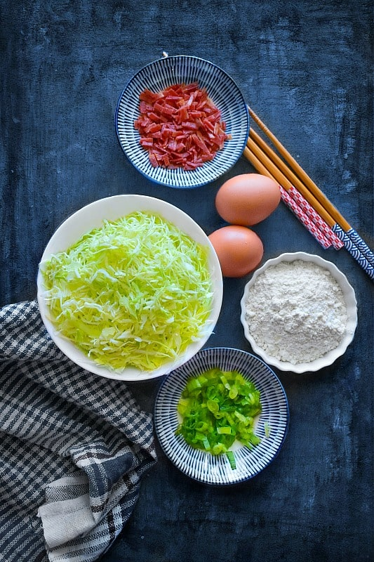 Okonomiyaki Japanese Cabbage Pancakes Ingredients