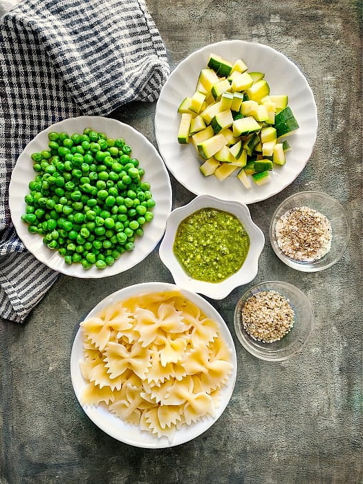 Bowtie Pesto Pasta with Zucchini and Peas Ingredients