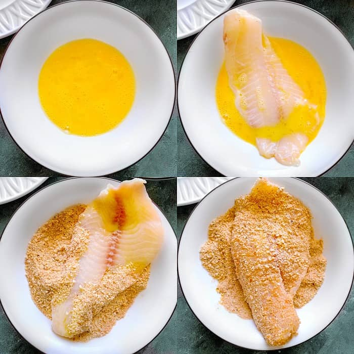 Dredging the Tilapia Fish Fillet in Egg and Bread Crumbs mixture