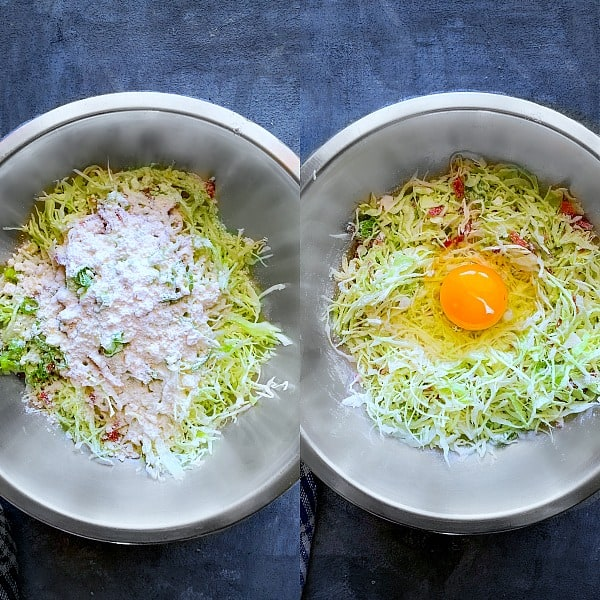 Step by step Process to Make Okonomiyaki Japanese Cabbage Pancake