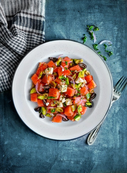 Quick Greek Watermelon Salad