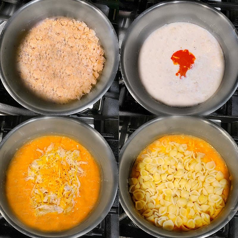 step by step process of Creamy Buffalo Chicken Pasta