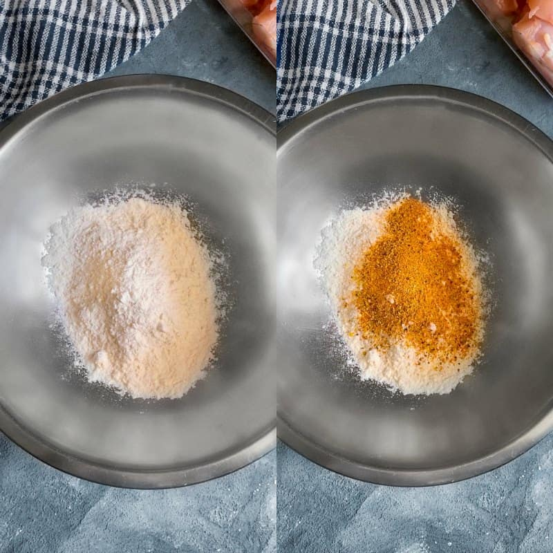 step 2 of crispy fried curry chicken process, mix the flour