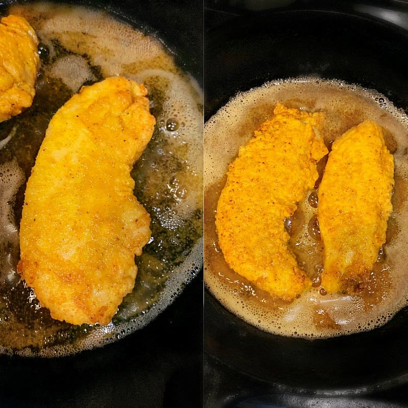 fried chicken curry recipe. Chicken fried in a skillet
