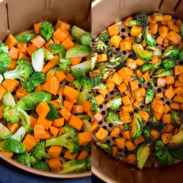 Roasted brussels sprouts, broccoli and sweet potatoes in air fryer