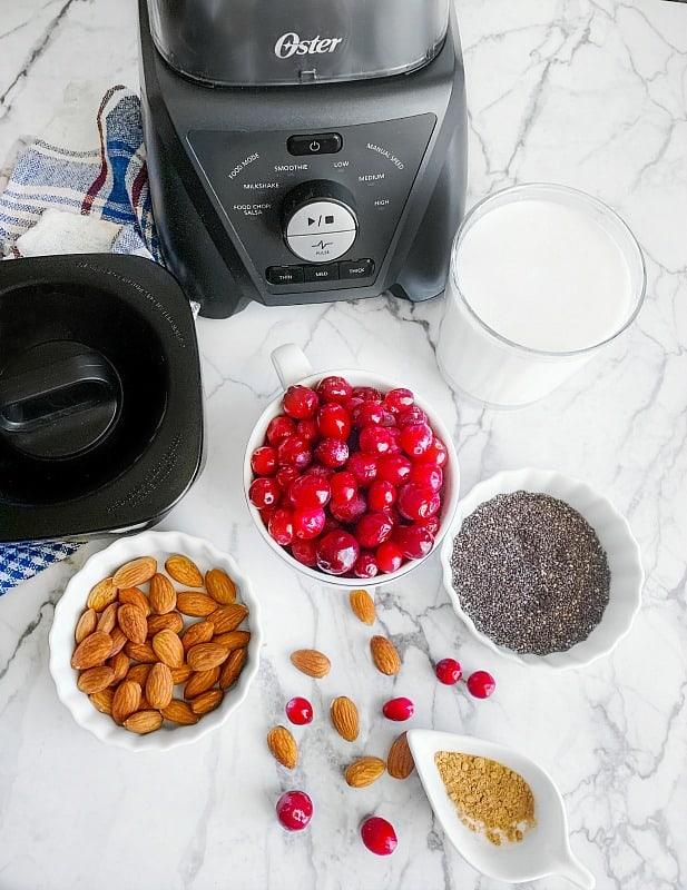 Cranberry Almond Chia Smoothie ingredients