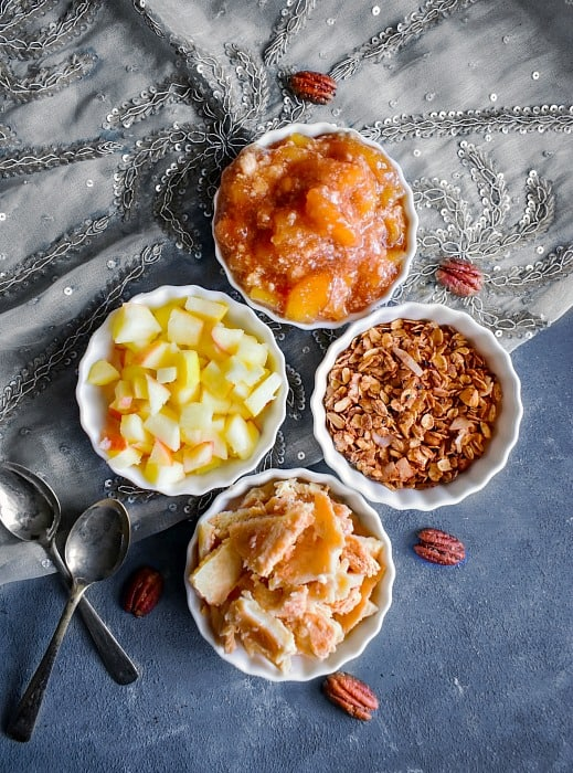 Healthy Apple Pie Parfait Ingredients - yogurt granola apples