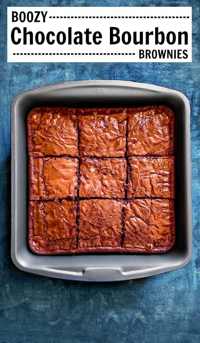 Boozy Chocolate Bourbon Brownies #brownies #bourbon #valentinesdessert
