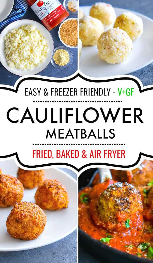 Vegan + Glutenfree Cauliflower Meatballs #cauliflowermeatballs #cauliflower #cauliflowermeatballs