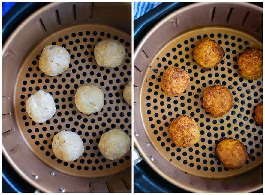 Air Fryer Cauliflower Meatballs process