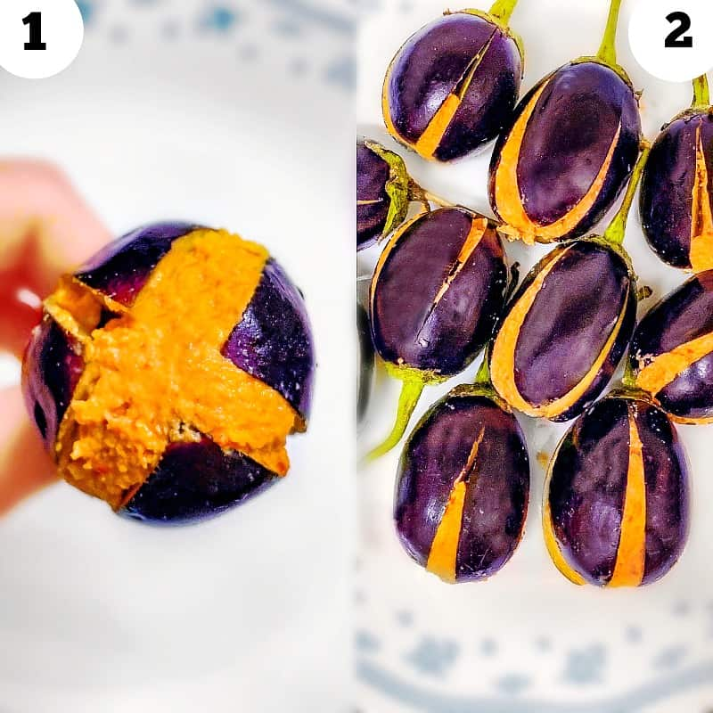 Stuffing eggplant with peanuts paste