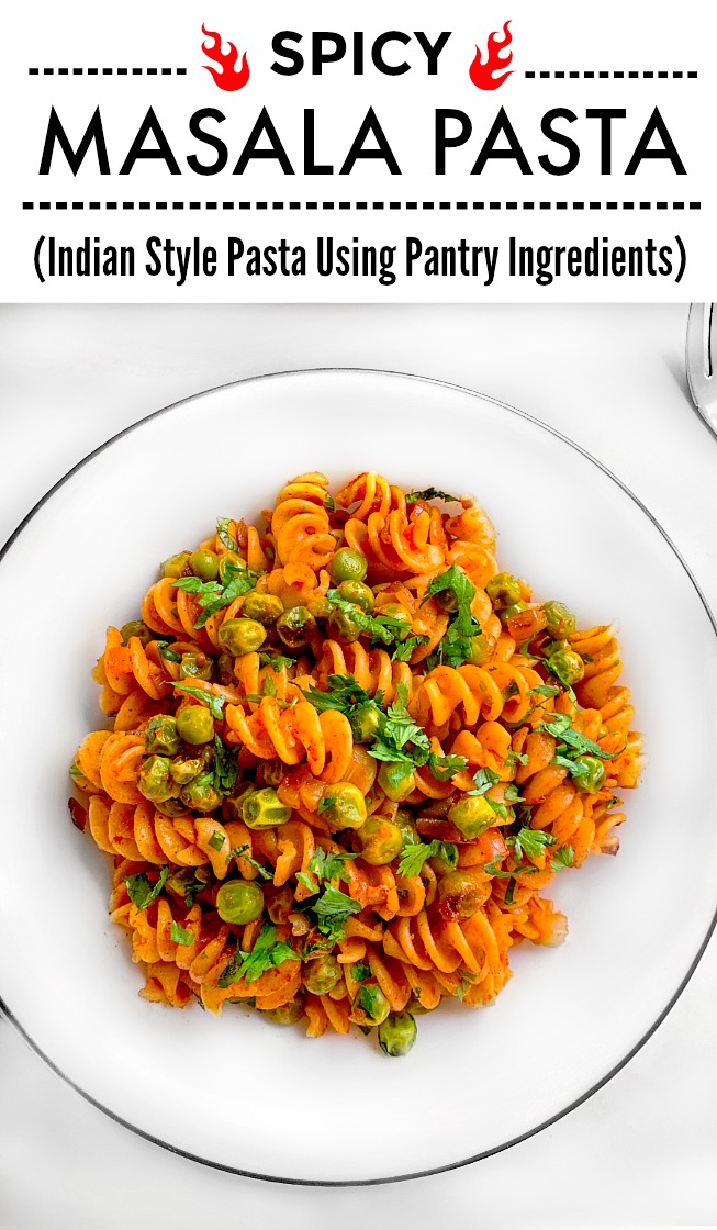 Masala Pasta using tomato, peas and spices.