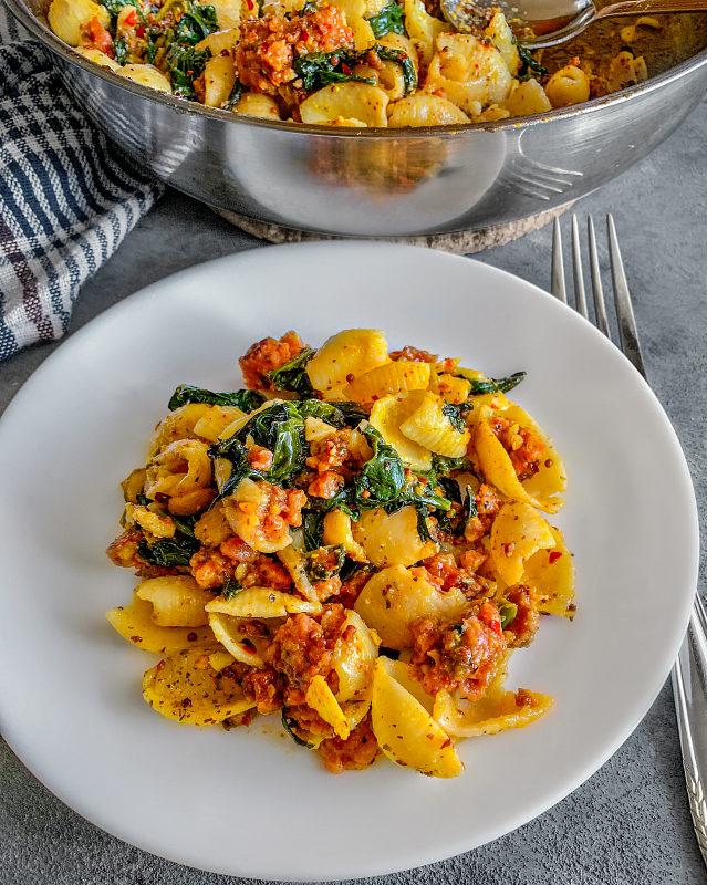 spicy sausage pasta stovetop recipe