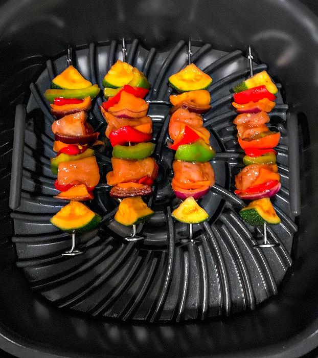 air-fryer chicken skewers process