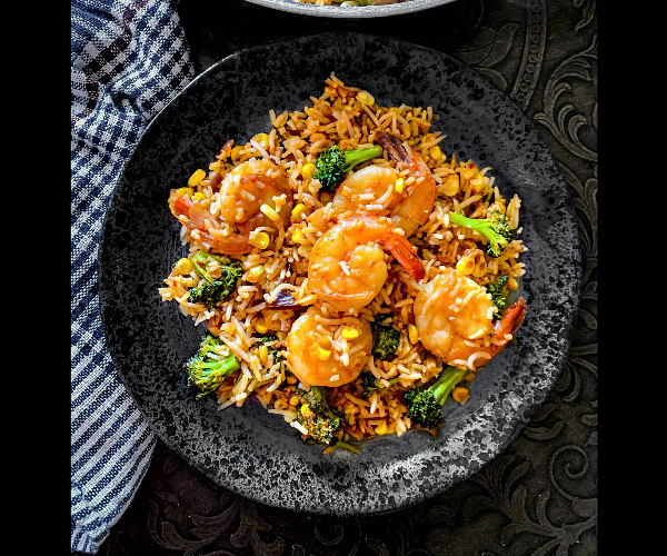 Indian Curry Shrimp Fried Rice recipe