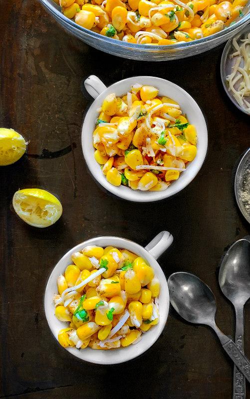 masala cheese corn chaat
