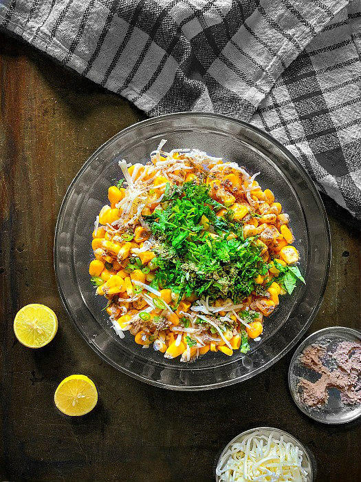 step by step masala cheese corn chaat recipe