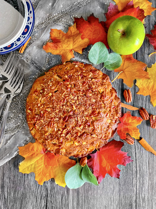 easy brown butter apple pecan cake