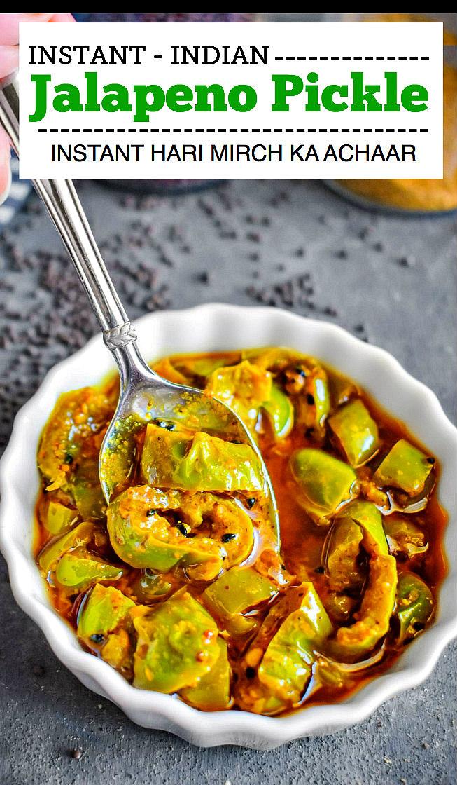 Instant Indian Jalapeno Pickle - Hari Mirch ka Achaar